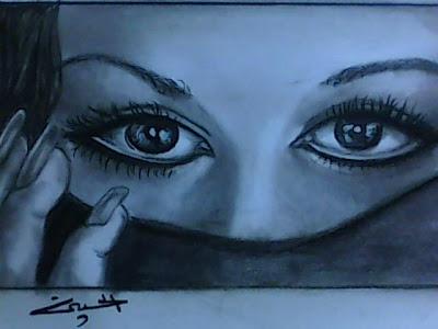 رسم عيون بالرصاص