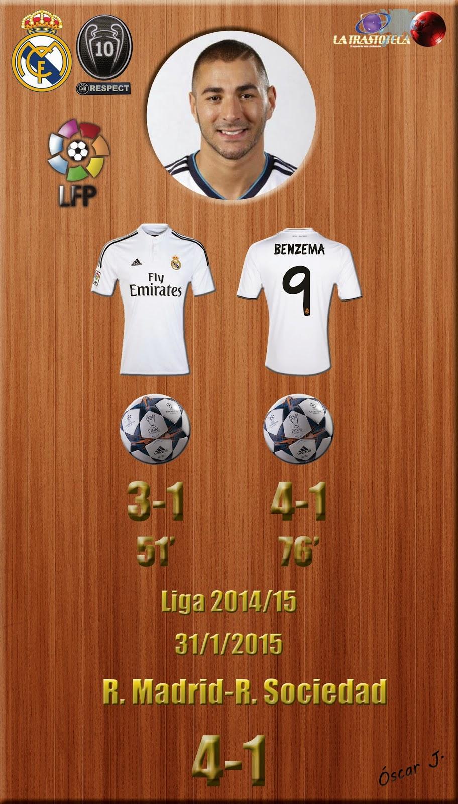 Benzema (Doblete) - Real Madrid 4-1 Real Sociedad - Liga 2014/15 - Jornada 21 - (31/1/2015)