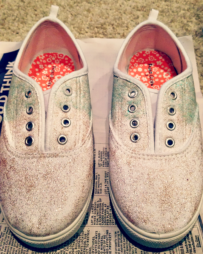 DIY glitter ombre shoes