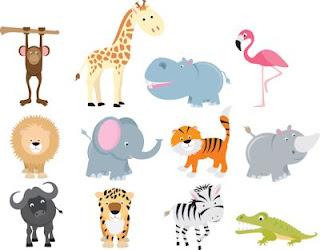 Ilustraciones de animales del zoológico
