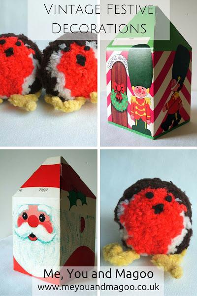 childhood, christmas, handmade, nostalgia, retro, vintage, retro, festive, father christmas, santa's guard, pom pom, wool, gift boxes, robins
