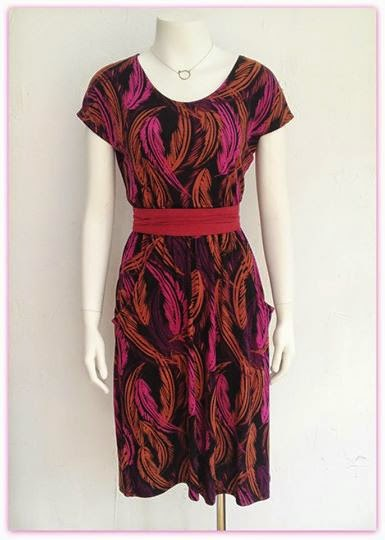 New Amanda dress by Sarah Bibb ($148), Obi belt by Sarah Bibb ($40), and necklace by Amy Olson (in store only) at Folly