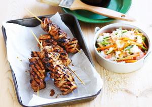 Sate Ayam Teriyaki dengan Salad Nasi