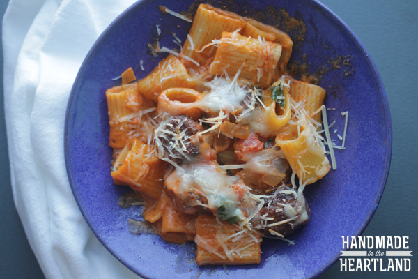 meal to feed a crowd, this pasta bake with sausage and vodka sauce is so good!