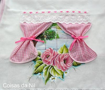 """""""pano de copa com janelinha e rosas"""""""