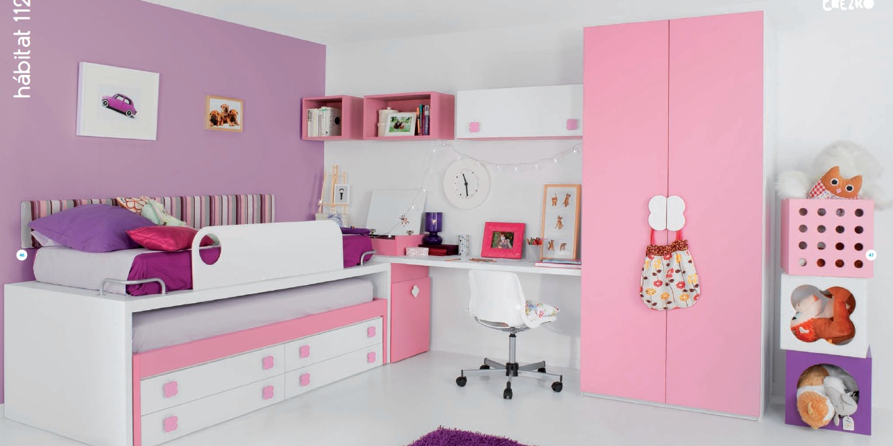 Dormitorio infantil blanco y rosa con cama compacto mesa de estudio - Dormitorios de nina en blanco ...