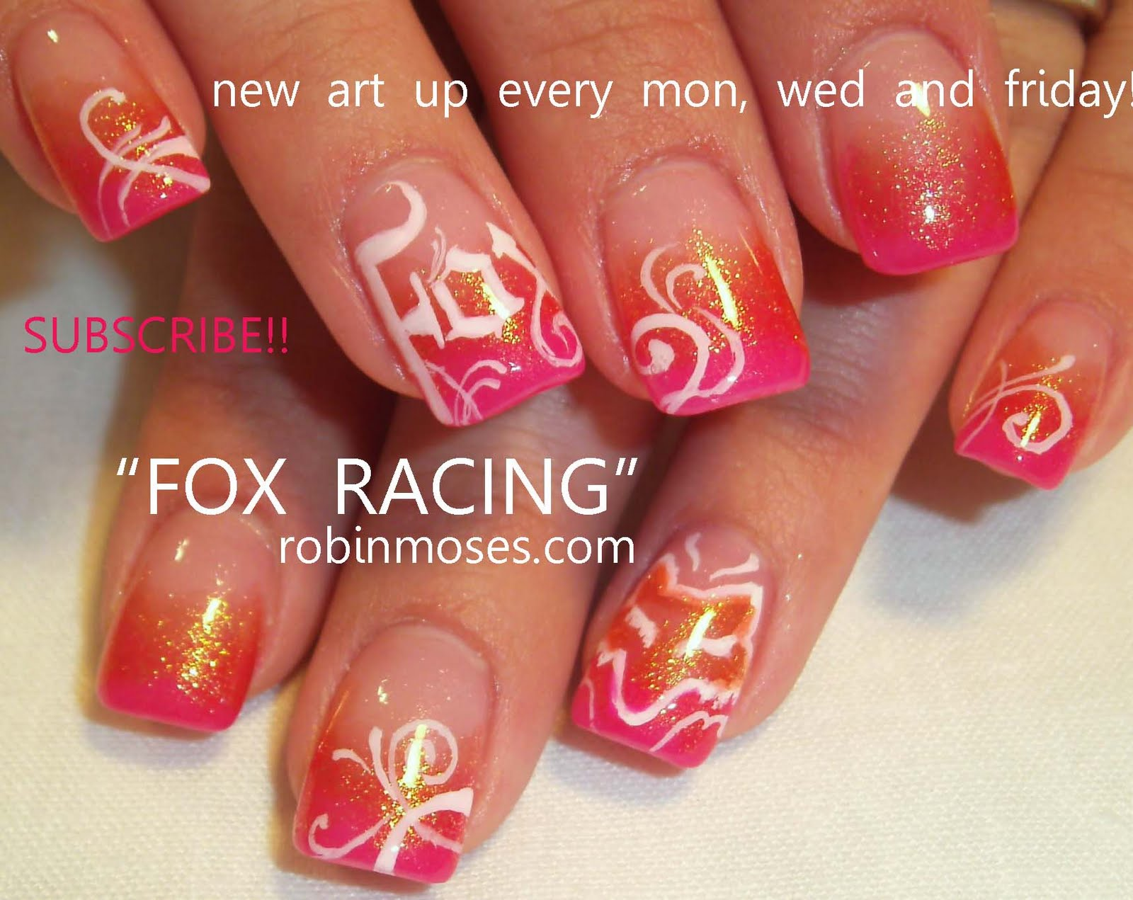 fox nails, pink nails, gradient nail, nicki minaj super bass lite ...