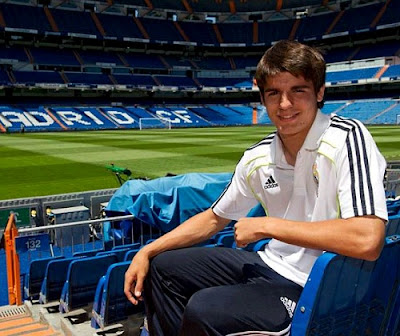 Alvaro Morata at the Bernabeu Stadium with Real Madrid jersey