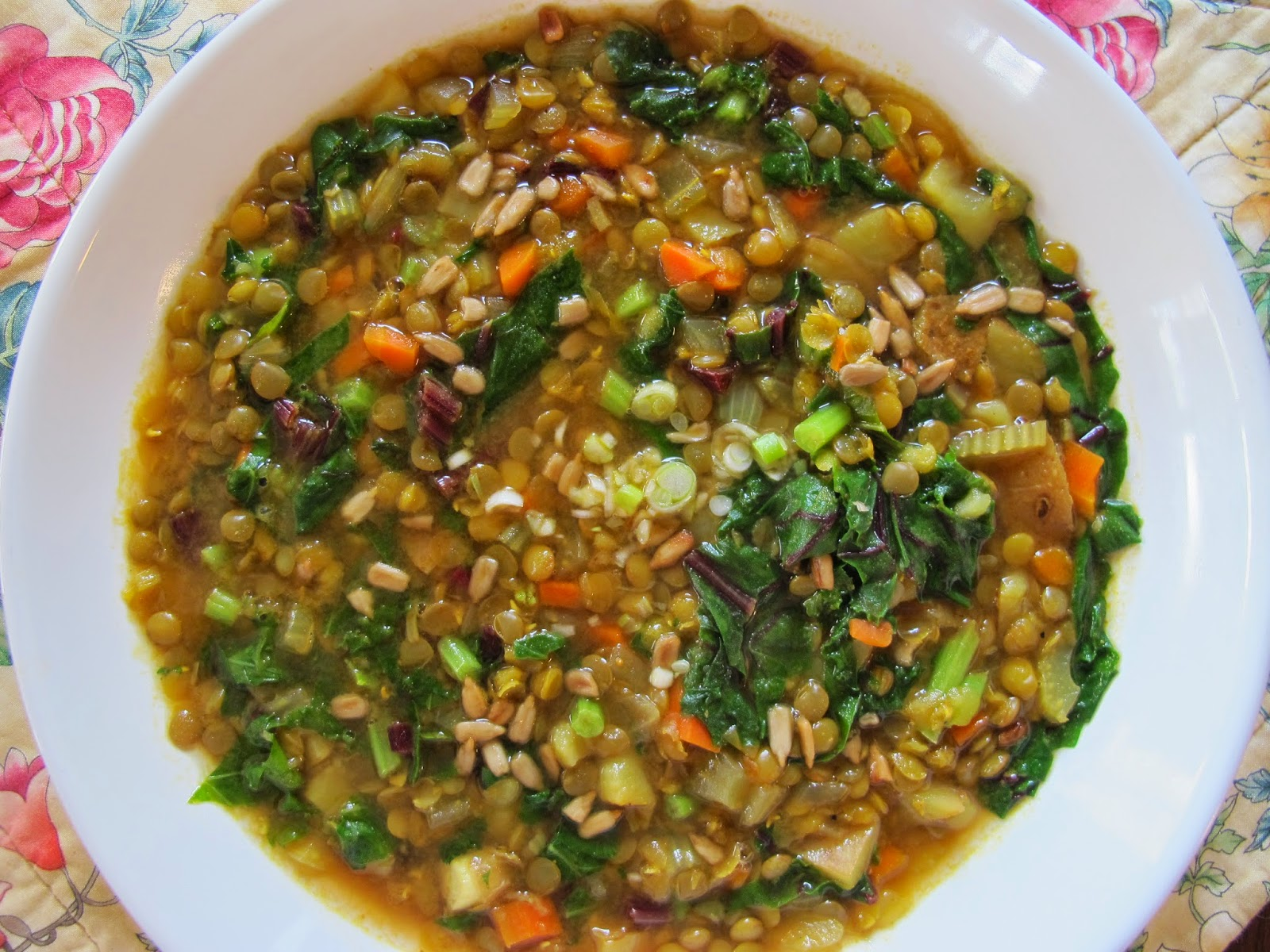 Dinner Place: Curried Lentil Soup with Fresh Greens