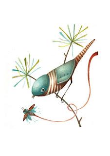 bird wth bee on tree, madár méhecskével a fán, robot madár