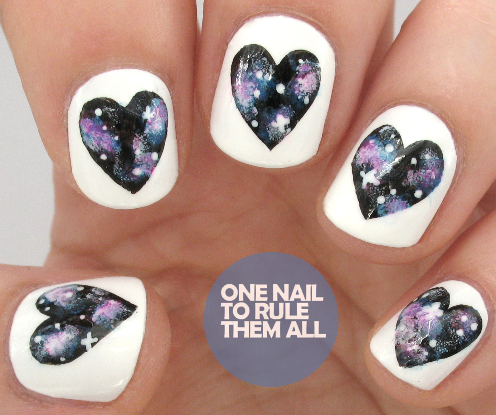 One Nail To Rule Them All: Tutorial Tuesday: Galaxy Hearts Nail Art ...