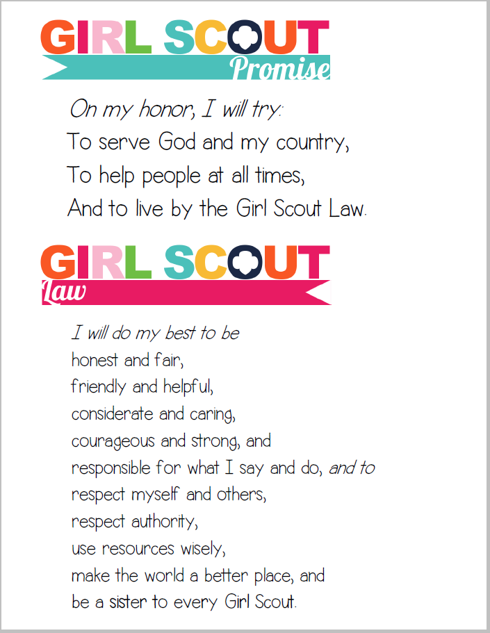 Divine image within girl scout law printable