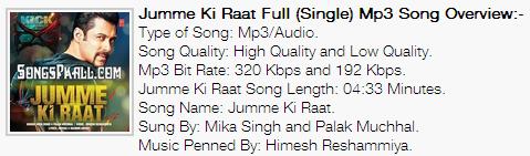 Jumme Ki Raat Full Song mp3 download Kick