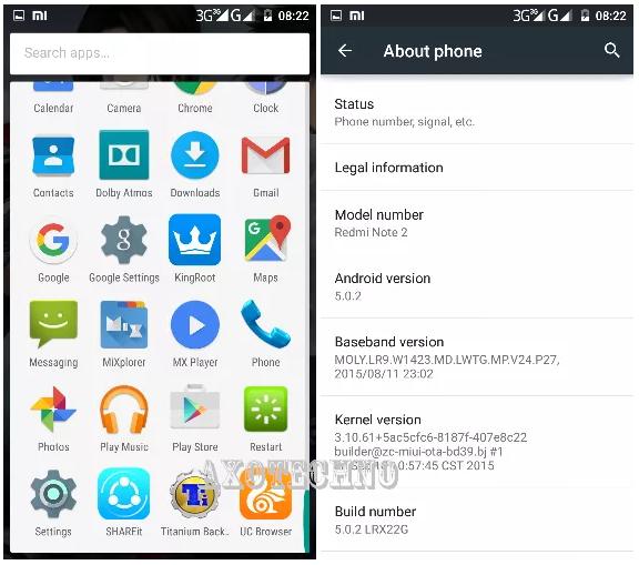 Custom ROM AOSP 5.0.2 Xiaomi Redmi Note 2
