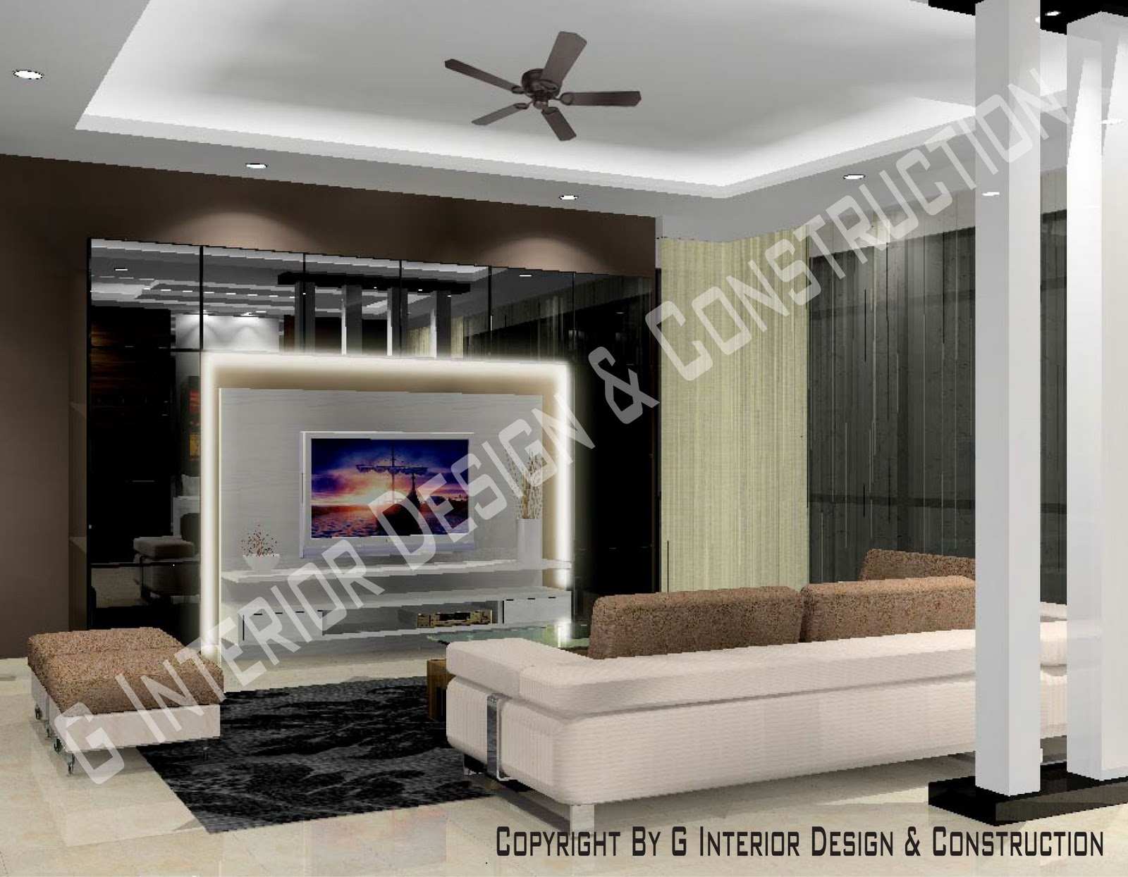 3d drawing interior design for Living hall interior design