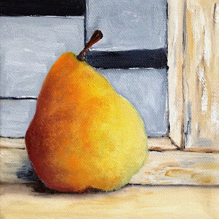 Oil Painting of warm colored pear