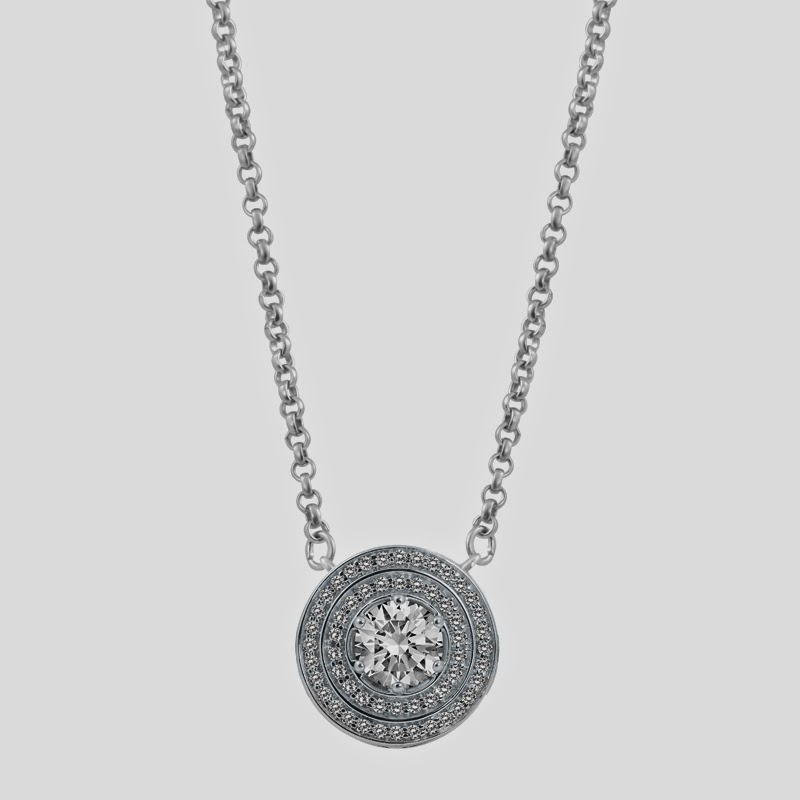 Passion Double Halo Pendant in White Gold