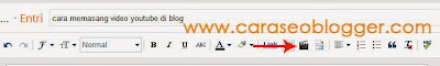 toolbar postingan blog untuk memasang video youtube
