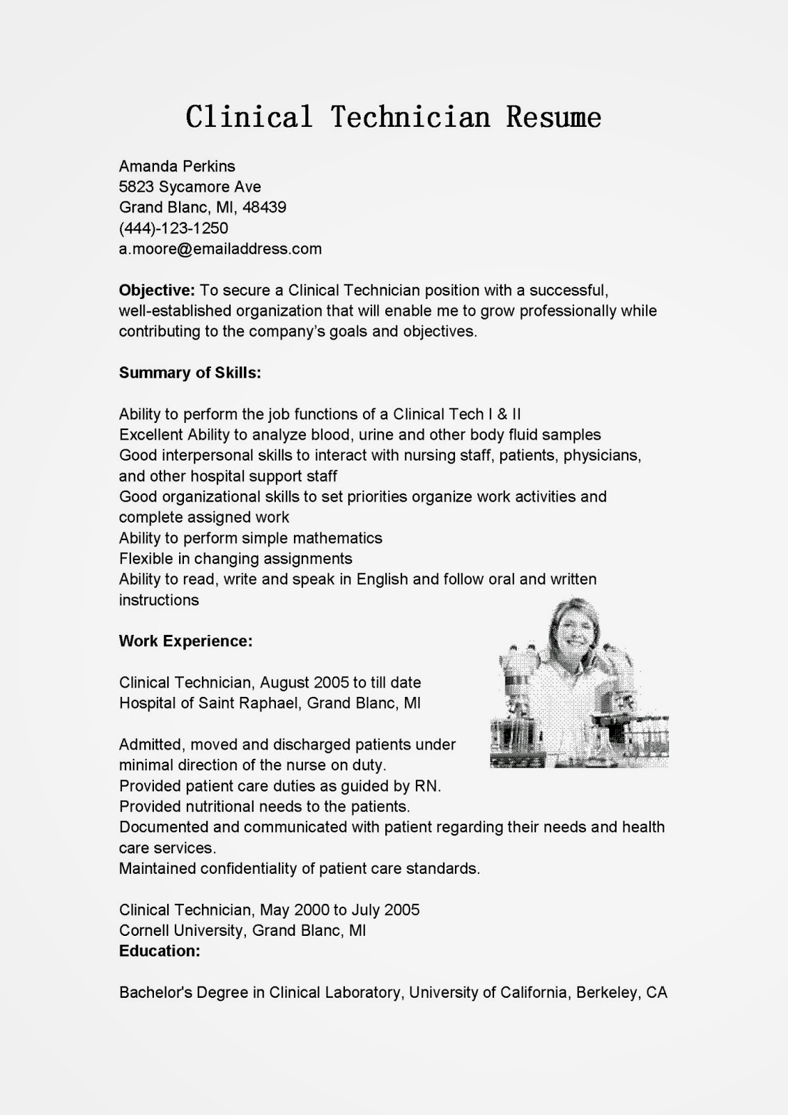 lab technician resume objective electronic technician resume