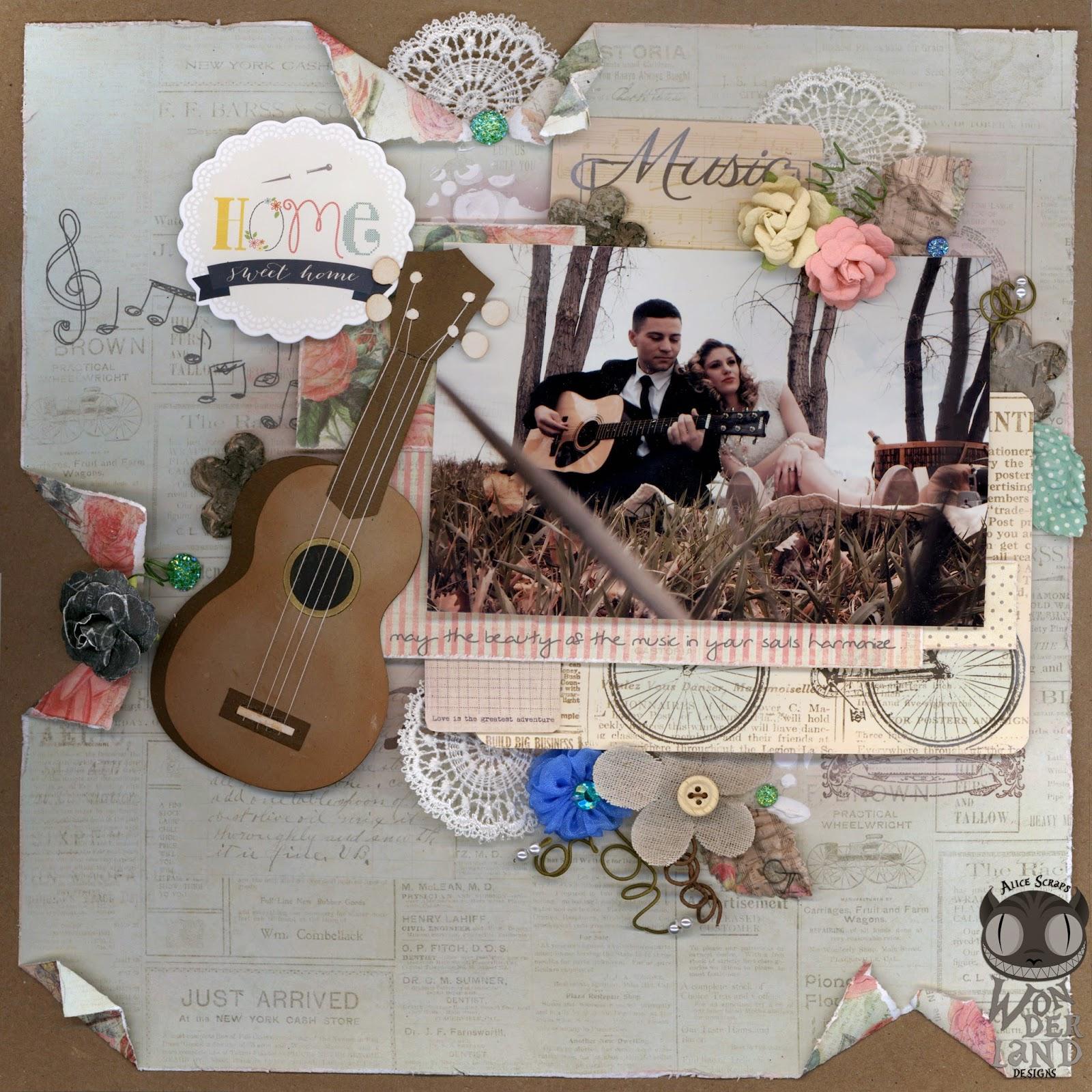 Harmonize A Music Themed Engagement Scrapbook Layout Alice Scraps