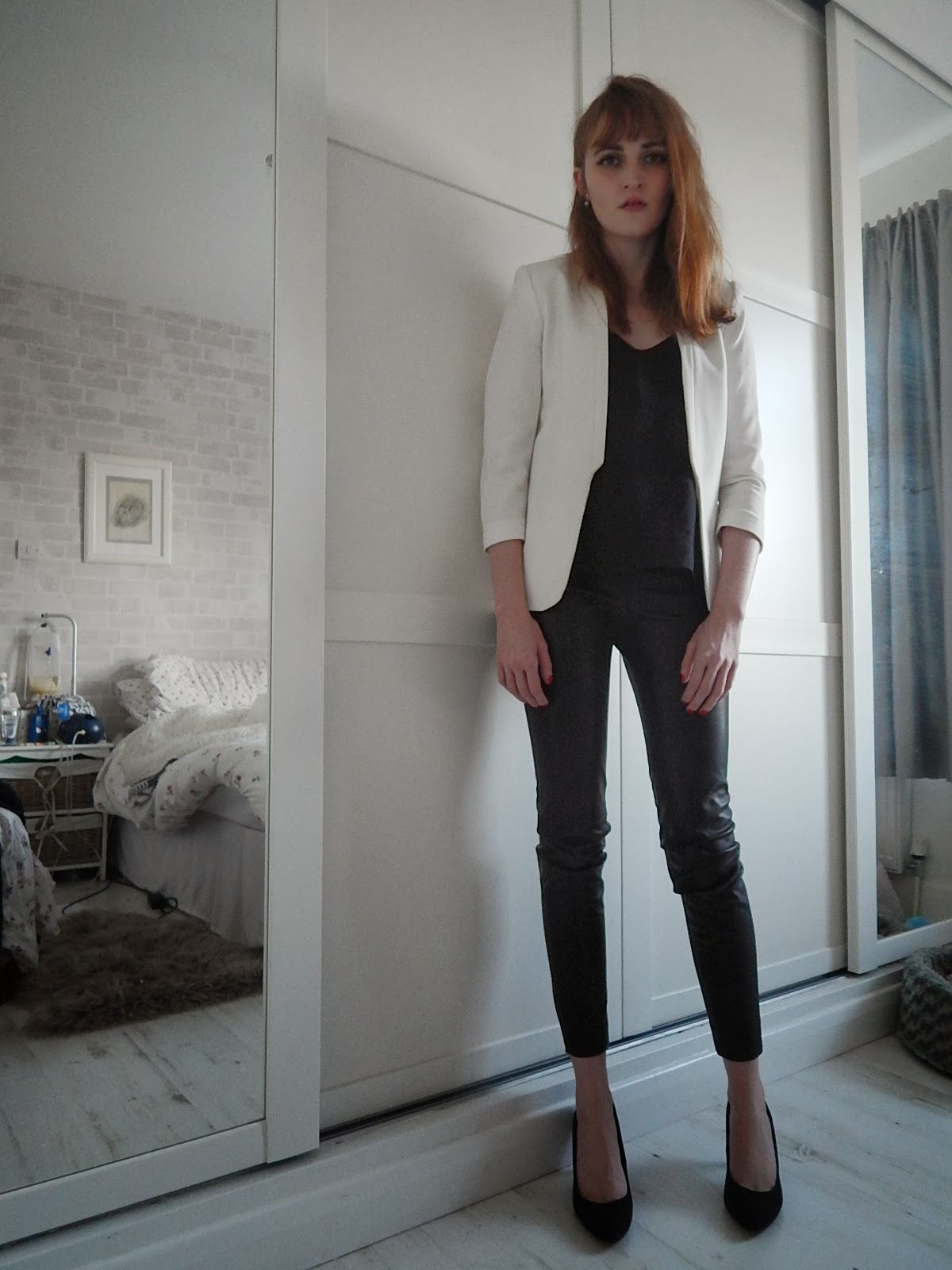 white blazer, leather trousers