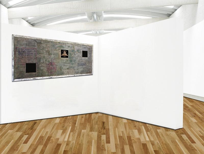 Multimedia Ziegelsteinwand Im Retro Stil