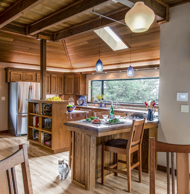 kitchen with built-in space for books, from Harrell Remodeling