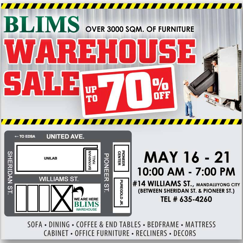 Manila shopper blims furniture warehouse sale may 2013 for Furniture warehouse sale