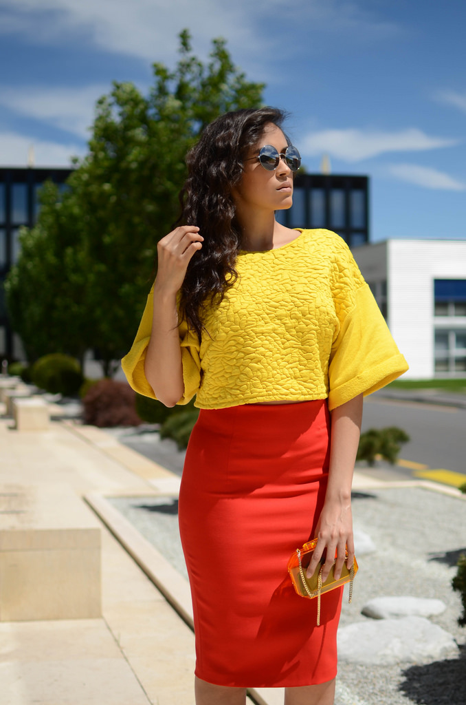pashionality high waist skirt and crop top