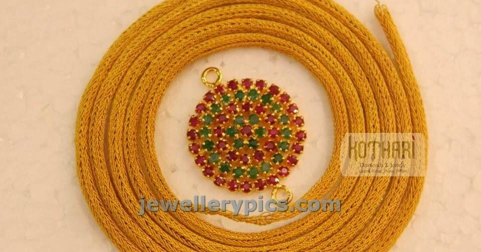 taali chain with ruby emerald side chain mugappu pendant