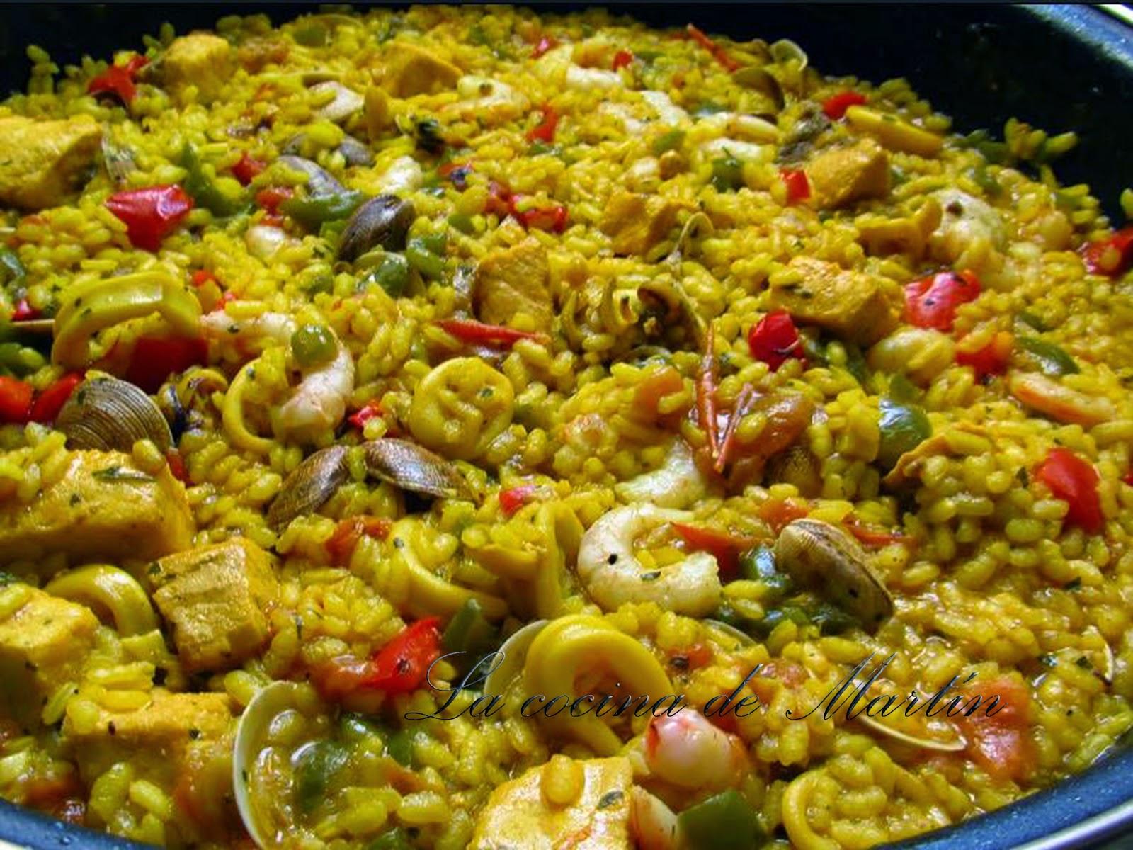 La cocina de mart n paella de pescado y marisco - Paella de pescado ...