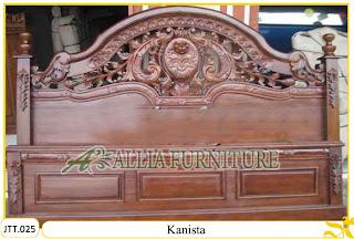 Tempat tidur ukiran kayu jati Kanista tanpa Jog Polos
