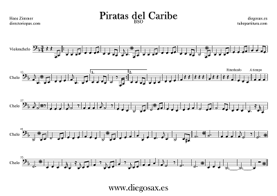 Tubepartitura Piratas del Caribe de Hans Zimmer de Violonchelo Banda Sonora de la película Piratas del Caribe