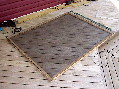 The window screen frames were made and then covered with screen.