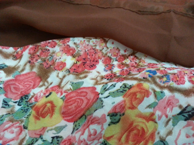 shawl chiffon 2 layer printed rose brown