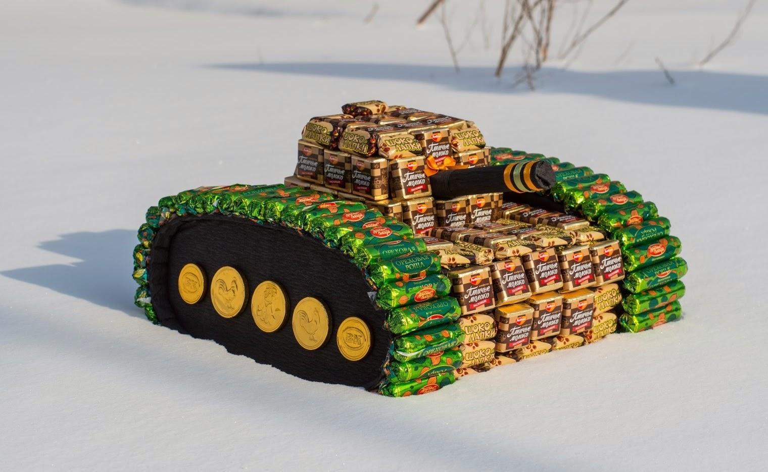 Как сделать танк из конфет пошаговое