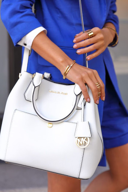 Cute White Purse + Blue Dress