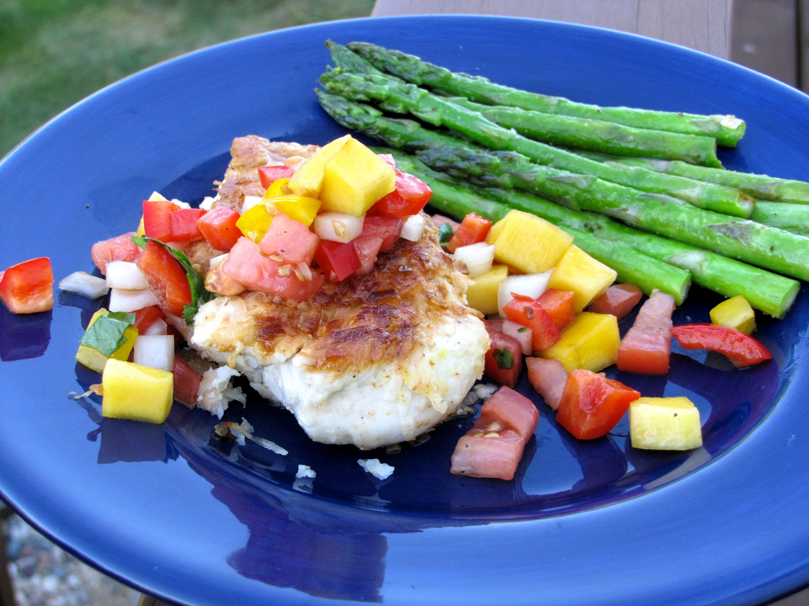 Coconut Crusted Chicken with Mango Pepper Salsa - Crumbs and Chaos