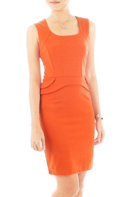 Sculpted Dream Peplum Dress – Atomic Orange