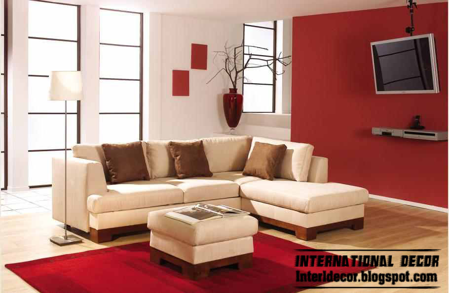 red and white colors in modern living room decoration, furniture 2013