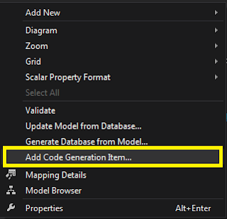 Entity Framework 6.0 Add Code Generation Item