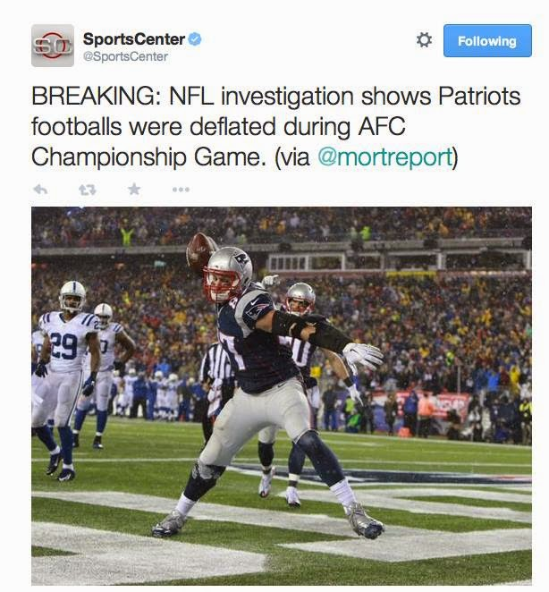 breaking: nfl investigation shows Patriots Footballs were deflated during AFC Championship Game.