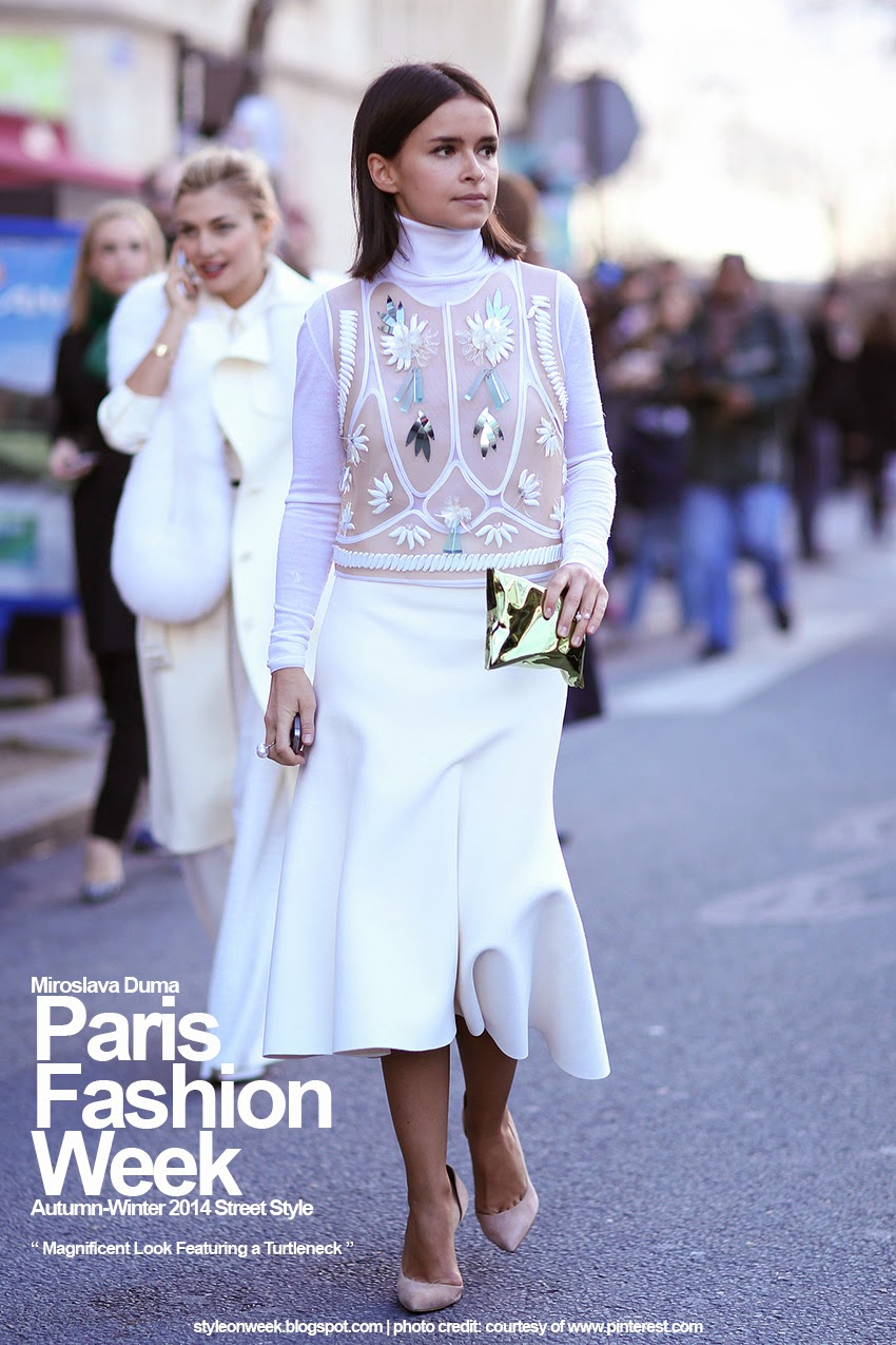 Paris Fashion Week Autumn-Winter 2014 Street Style - Magnificent Look Featuring a Turtleneck