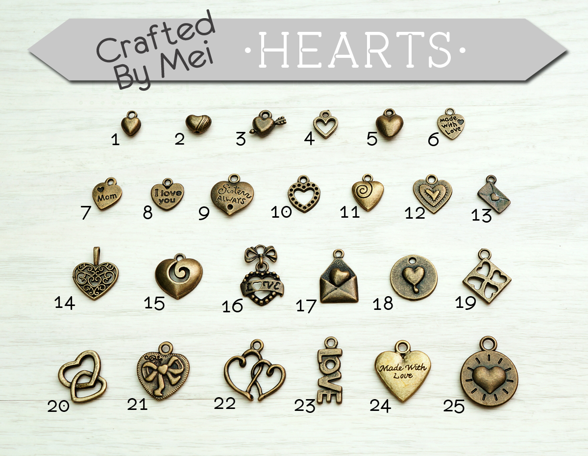First Row 1 Small Heart Charm 2 Bead 3 Cupid 4 Frame 5 Puffy Medium 6 Made With Love