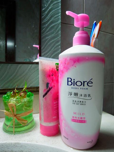 biore watson's shower gel sakura body scrub 櫻花