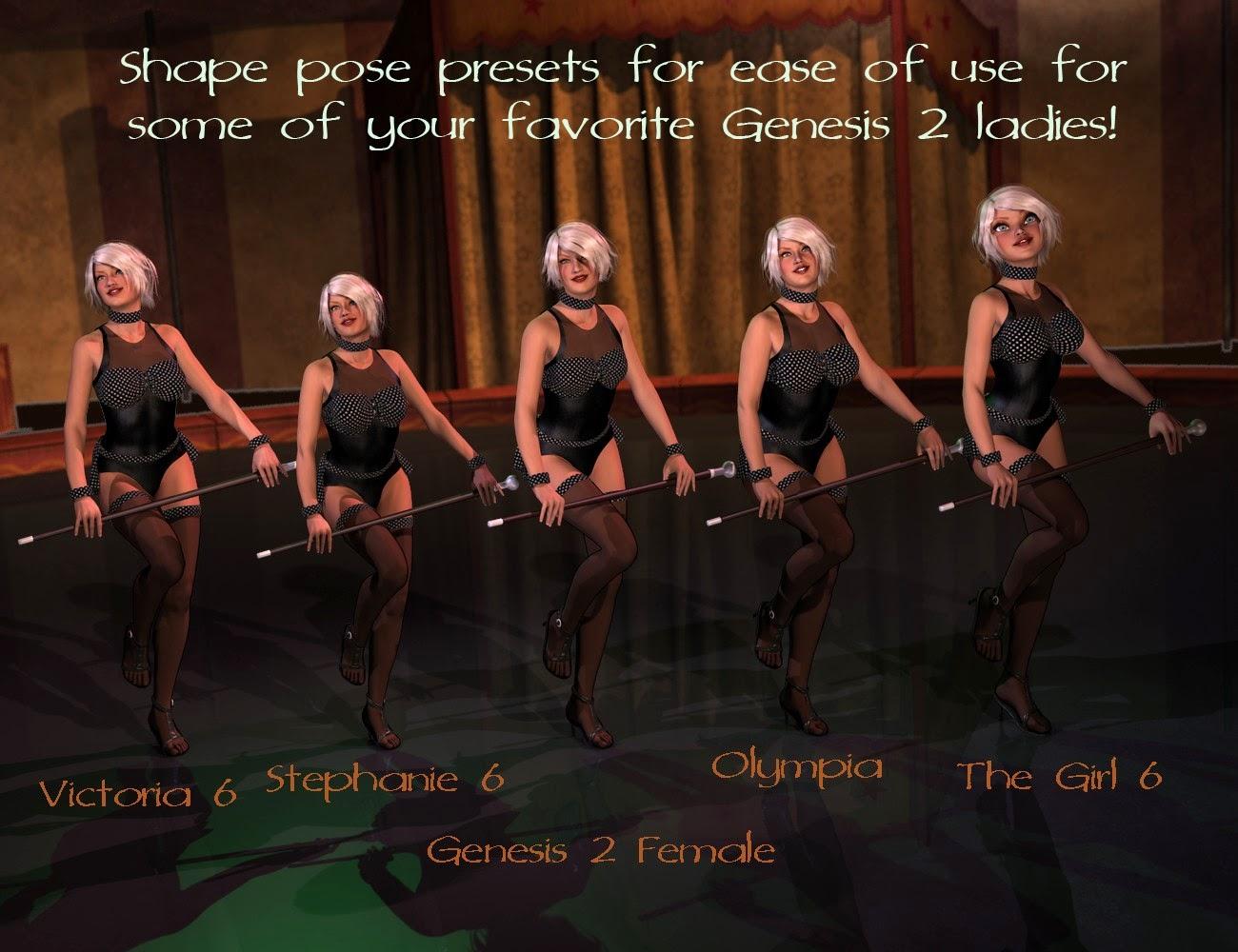 Poses de cabaret et accessoires pour Genèse 2 Femme