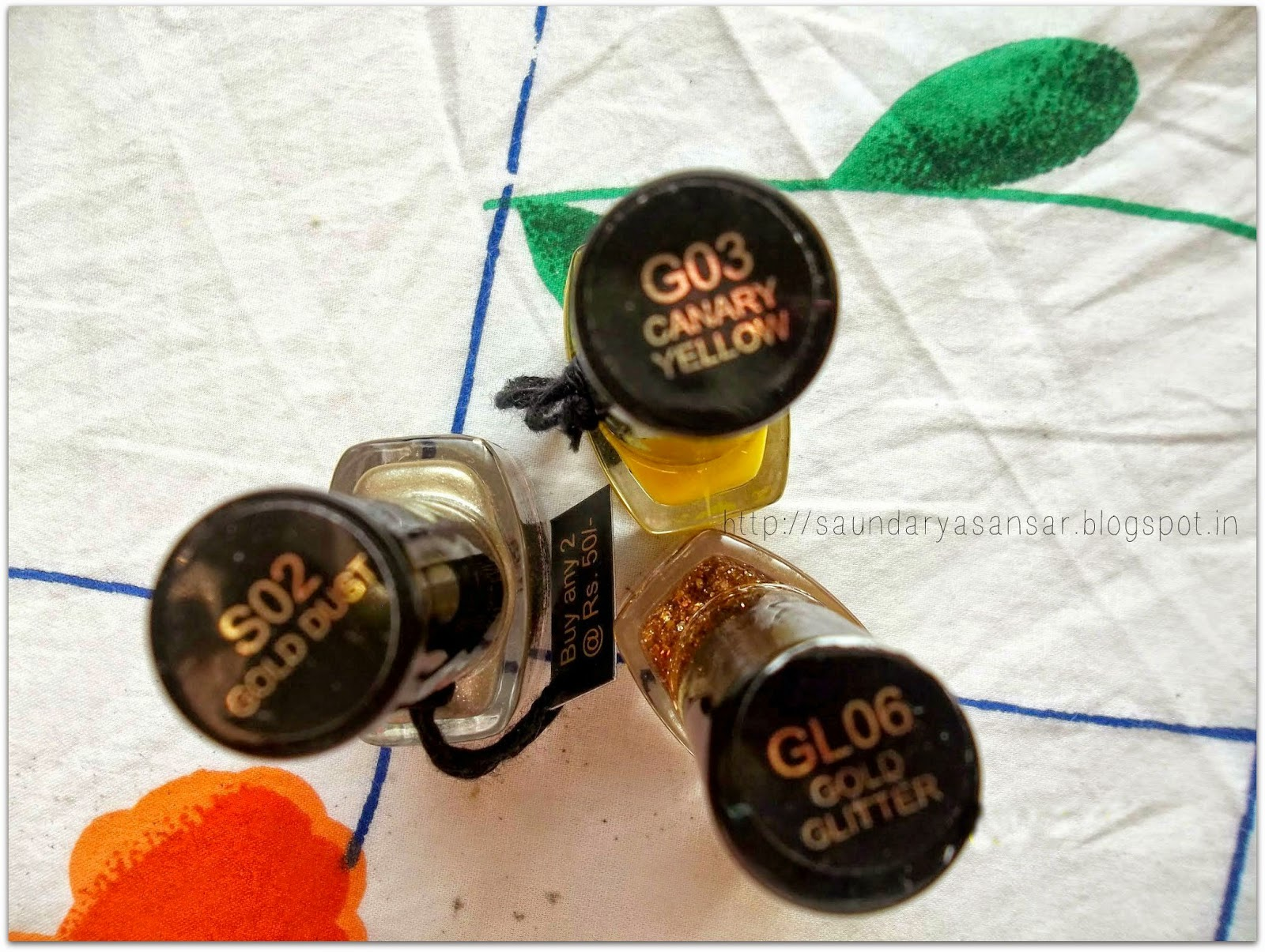 Nail Trend Nail Enamel- Gold Dust, Canary Yellow, Gold Glitter