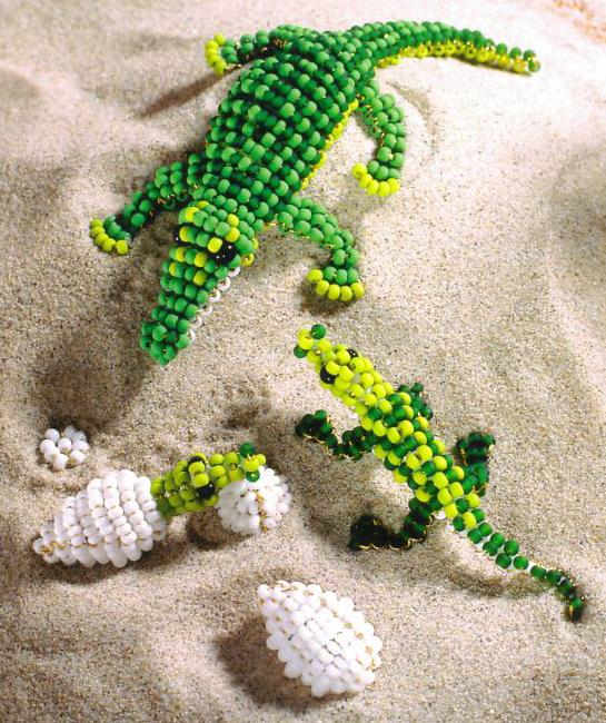 Крокодилы из бисера схема была