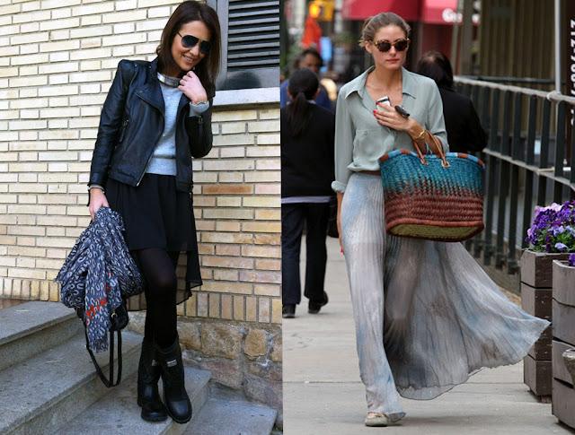 Paula Echevarría falda asimétrica negra y Olivia Palermo falda larga con transparencias