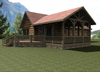 foto de modelo de casa rústica de montaña atras